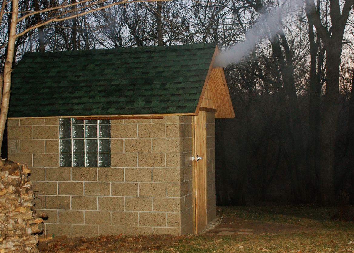 Wood and Cinderblock Smokehouse